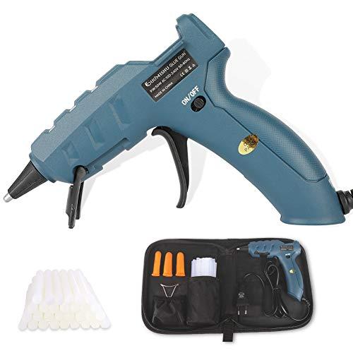 Laluztop Pistola de Silicona Caliente 50W Pistola de Pegamento Profesional Con 30pcs Barras de Pegamento para Manualidades (7mm * 15cm)