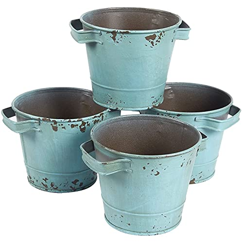 Pequeños cubos galvanizados de color azul envejecido, decoraciones de jardín vintage (4.7 x 3.7...
