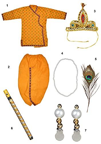 Kaku Fancy Dresses Krishna Costume for Kids | Kids Krishna Dress for Janmashtami/Kanha/Krishnaleela/Mythological Character Krishna Fancy Dress... 3