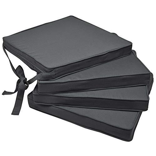 Beautissu Loft SK Stuhlkissen mit Bändern 4er Set Sitzkissen für Stühle 45x40x5 cm Sitzpolster rutschfest mit Schleifenbändern - Kissen Anthrazit