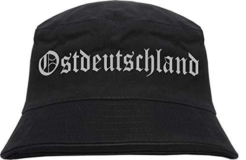 sostex Ostdeutschland Fischerhut - Druckfarbe Silber - Bucket Hat L/XL Schwarz