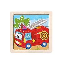 小さなパズル子供用パズルウッディフォレストの9ピース動物の形の物語パズルイディオムパズルおもちゃのパズル、多色、消防車