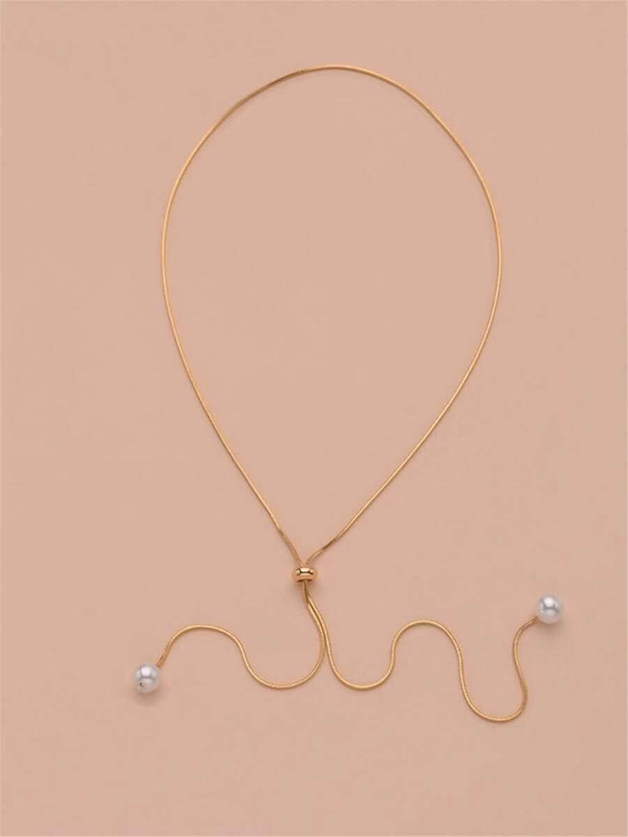 ANBF Necklace Pendant Faux Pearl Decor Y Lariat Necklace (Color : Gold)