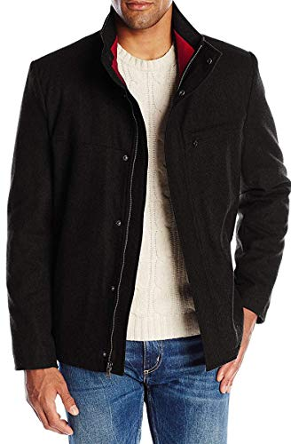 IZOD Men's Wool Jacket with Contrast Inner Collar, Black, X-Large