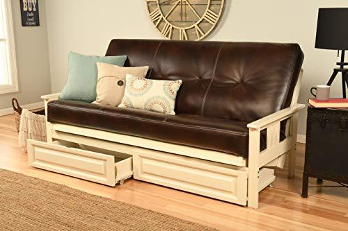 Eldorado Futon Antique White Finish Frame w/Coil 8 Inch Mattress Full Size Sofa Bed (Brown Leather Matt, Frame w/Drawers Full Size)