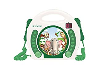 LEXiBOOK Animals - CD Player with mics Programming Function Headphones Jack for Kids with Power Supply or Batteries White/Green RCDK100ANX