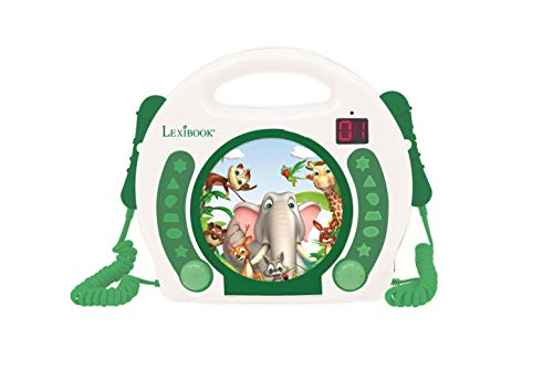 Lexibook RCDK100ANX Animals Tragbarer CD Mikrofonen, Musik-Player, Wiederholung und Programmierung, Dschungel, Karaoke, Kopfhöreranschluss, für Kinder, Jungen, Mädchen, Weiß/Grün