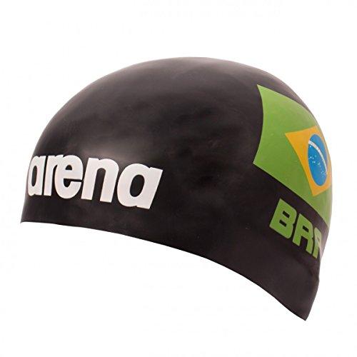 Euras GmbH Arena - Cuffia da nuoto in silicone 3D con bandiera nazionale del Brasile, edizione limitata República Federativa do Brasil, colore: Nero