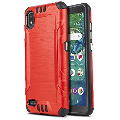 CasemartUSA Phone Case for [Alcatel TCL A2 (A507DL)], [Brushed Series][Red] Shockproof Protective Defender Cover for TCL A2 (Tracfone, Simple Mobile, Straight Talk, Total Wireless, Net10)