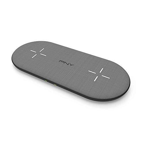 PNY Cargador Inalámbrico 2 en 1 hasta 20W, con certificación Qi, Carga hasta 2 Dispositivos simultáneamente, para Todos los Smartphones habilitados Qi, Acabado de Tela Gris Premium