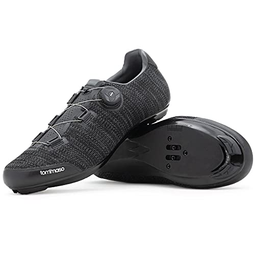 Tommaso Strada Elite Knit Quick Lace Style Road Bike Cycling Shoe, Dual Compatible with SPD, Delta, Black - 45