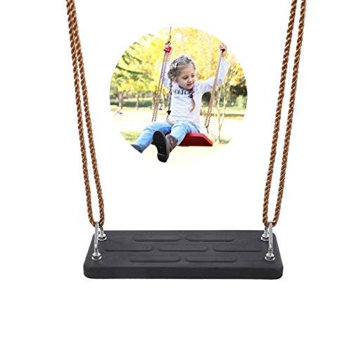 XIUYU Columpio Materia de Goma con Asiento Plano Mega, Oscilación del árbol de los Asientos, los niños Hijos Adultos del Patio Trasero al Aire Libre de la Cuerda de reemplazo Columpio, Negro, Negro