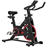 GEONEO Magnetic Exercise Bikes Belt Drive Indoor Cycling Bike Stationary - Spin Bike with 35 LB Chromed Flywheel, Silent Belt Drive, LCD Monitor & Comfortable Seat Cushion for Home Workout