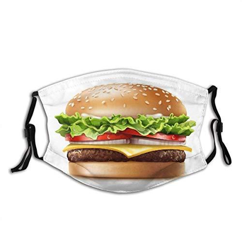 Mundschutz Face Guard Food Theme Amerikanischer Cheeseburger mit Salat Tomaten Zwiebel Käse Rindfleisch und Sauce Sturmhaube Mund Bandanas Halsmanschette mit 2 Filtern