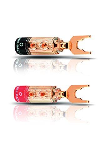 Oehlbach XXL Fusion Lug - high-end kabelschoenconnector voor kabels tot 6mm2 - volledig metalen stekker, rood/zwart kenmerk - 4 stuks -goud