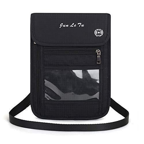 Damen Herren Brustbeutel Brusttasche mit RFID-Blockierung, Reise Geldgürtel,Umhängegeldbeutel Diebstahlschutz für Tickets Kreditkarten Bargeld(Schwarz)