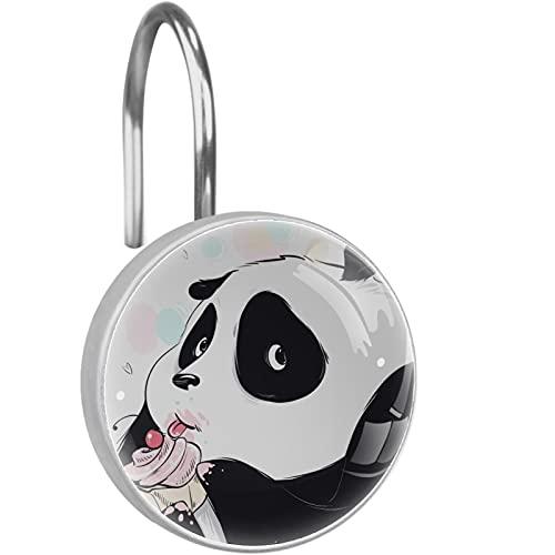 12 STÜCKE Duschvorhang Haken Ringe Dekorative rostfreie Duschhaken Duschstange Panda, der süßen Kuchen isst für Home Badezimmer Vorhängestangen