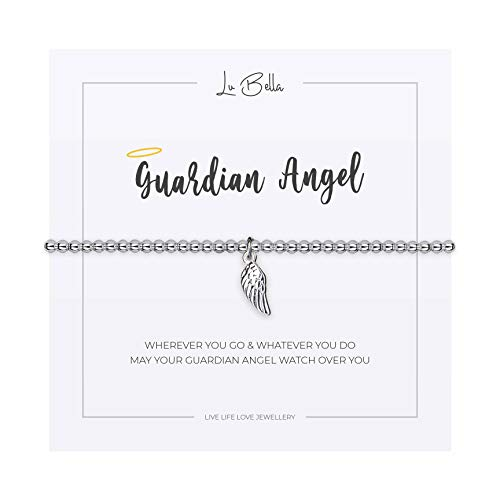 Guardian Angel Bracelet For Woman. Adjustable Silver Jewellery with Angel Wing Charm and Gift Bag from Lu Bella