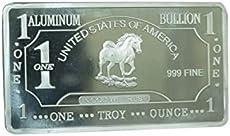 Metal Art Collection - 1 oz One Troy Ounce USA Horse .999 Fine Aluminum Bullion Bar Al Element