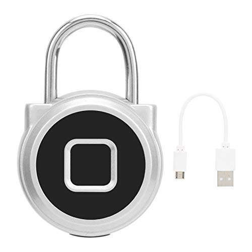 Electronic Padlock, Support 20 Sets of Fingerprints High Strength Aluminum Alloy Body Smart Padlock for Doors Cabinets, Bicycles, Backpacks(Silver, Pisa Leaning Tower Type)