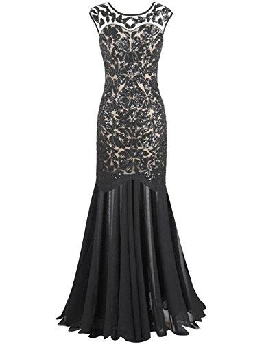 PrettyGuide Damen 1920s Schwarz Pailletten Gatsby Bodenlangen Abendkleid L Schwarz beige