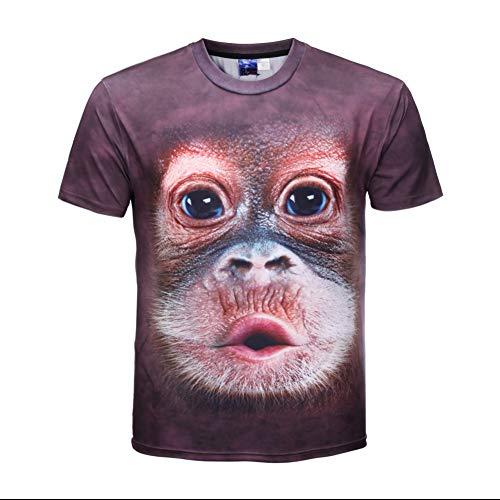 XJWDTX 3D Doodle Monkey T-Shirt Männer Und Frauen Mit Dem Gleichen Absatz Größe Kurzarm T-Shirt Tier AFFE Braun Rundhals Elastisch