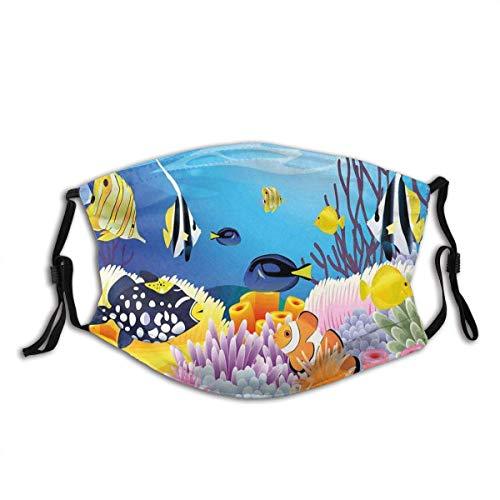 Protector facial protector bucal para decoración del océano, vida acuática, diferentes tipos de peces, arrecifes de coral y esponjas, tema de guardería, varios pasamontañas bucales con 2 filtros