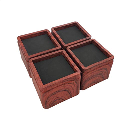aspeike Das neue Upgrade 4 Packungen 7,6 cm Bett- und Möbelerhöhungen – Hebt bis zu 2994 kg Couch, Schreibtisch, Tische oder Stühle (realistischere holzige Haptik) dunkle Holzfarbe