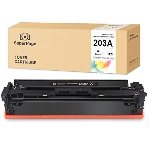 Superpage sostituzione per HP CF540A 203A Toner per HP Color Laserjet Pro M254 M254dw M254nw MFP M281 M281CDW M281FDN M281FDW M280 M280NW stampanti, nero