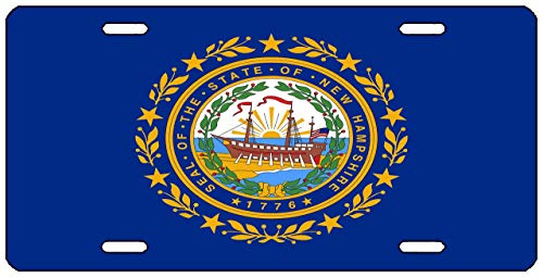 WHXSSJ New Hampshire State Flag License Plate Novelty Auto Car Tag Vanity Gift NH