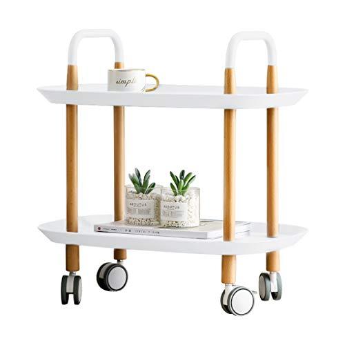 C-J-Xin mobiele tafel, twee lagen op wielen, tray tafel huishouden, kapsalon, hotel, kleine wagen, comfortabele opslag, gemakkelijk te verplaatsen ruimte besparen