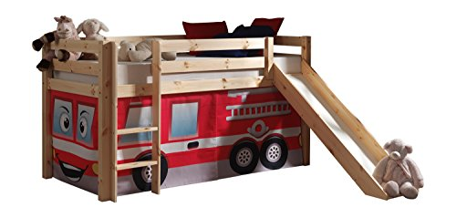 Vipack PICOHSGB1070 Spielbett Pino mit Rutsche und Textilset Feuerwehr, Maße 210 x 114 x 218 cm, Liegefläche 90 x 200 cm, Kiefer massiv Natur lackiert