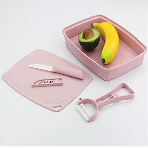 Vobajf Tabla de cortar de plástico con tallo de trigo, tabla de cortar para cocina, hogar, tabla de cortar de almacenamiento, juego de tablas de cortar (color: rosa, tamaño: 17,3 x 23 cm)