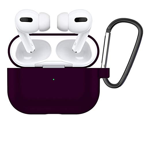 Case Compatible AirPods PRO Case Cover with Keychain Visible LED Design Shock & Scratch&Slip-Resistant Silicone Skin for AirPods Pro Charging Case 2019 Version Dark Purple