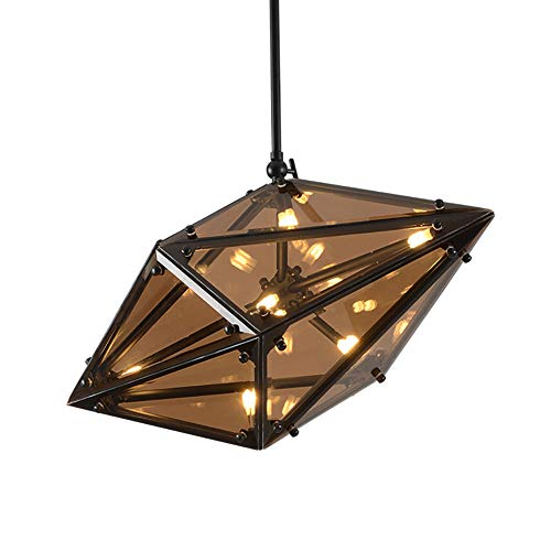 Kitchen Island Mini Loft Pendant Light Nordic Modern Diamond Shape Chandelier 16 Light Creative Cognac Glass Ceiling Light Fixtures For Bar Stairs Hallway-Black And Cognac-colored Glass 75 * 37cm