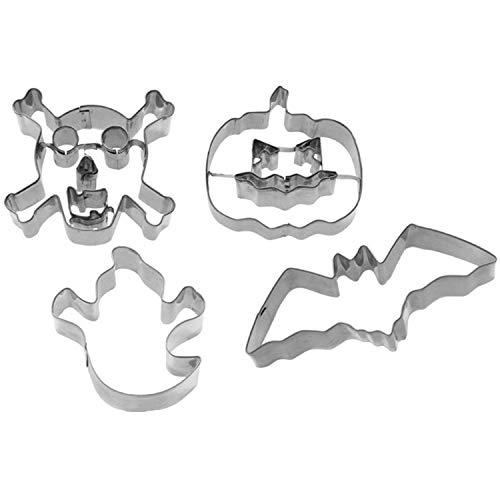 Westmark Set 4 stampi per Biscotti Halloween, Acciaio Inossidabile, Argento, 22.5 x 13 x 2.6 cm, 4 unità