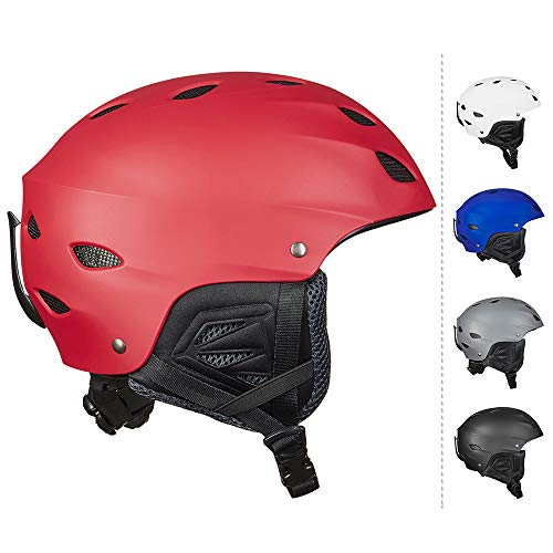 ILM Ski Helmet Snowboard Snow Sports Sled Skate Outdoor Recreation Gear for Men Women (Red, L)