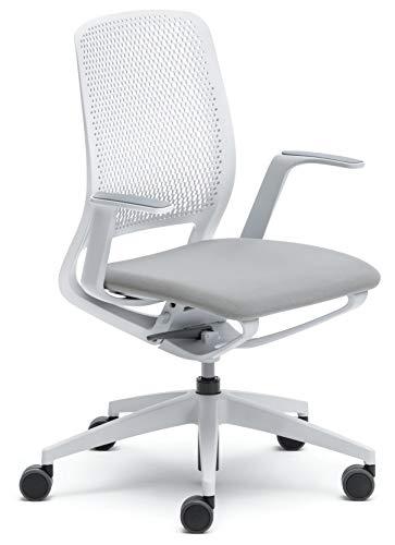 sedus se:motion Bürostuhl Design Drehstuhl Bürodrehstuhl modern Büro Stuhl Drehsessel (lichtgrau/weiß | mit Sitzpolster | mit Armlehnen)