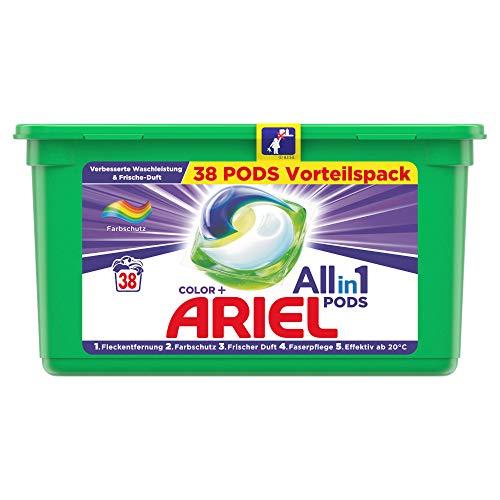 Ariel Waschmittel Pods All-in-1, Color Waschmittel, Frischer Wäscheduft und Farbschutz, 38 Waschladungen
