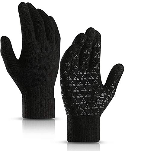 Cycling Gloves,Winter Running Gloves Winter Warm Gloves for Men & Women, Touchscreen Gloves Cold Weather Cycling Gloves Windproof Winter Sports Gloves (Grey Black, M)