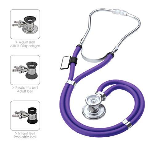 MDF Instruments MDF767 Sprague Rappaport - Estetoscopio de doble cabeza con membrana convertible adulto, pediátrica e infantil, color morado