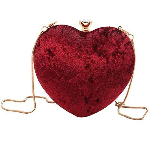 Milya Damen Samt Clutch Herz Handtasche Kleine Abendtasche Samttasche Umhängetasche mit Kette (Rot)