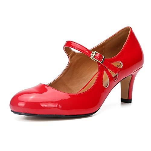 LMZX Zapatillas de Bomba de Tacones de Mujer Classic High High Talón de Punta Redonda de la Bomba de Punta, cómoda Oficina Baja de la cuña Sandal Sandal Sketsto,Rojo,42