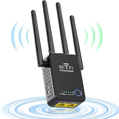 WiFi Repetidor de Red Amplificadores Wi-Fi 1200Mbps Doble Banda 5GHz a 867Mbps, 2.4 GHz a 300Mbps con 2 Puerto Etherne LAN y 4 Antenas, Soporta hasta 20 Dispositivos-IEEE 802.11 AC/B/G/N