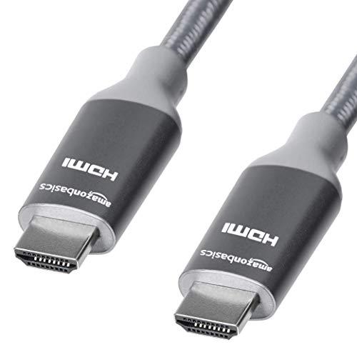 Amazon Basics - Cavo intrecciato HDMI, ad alta velocità, grigio scuro, 0,9 metri