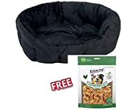 The wonderfully soft and sophisticated oval bed Cosy Panther 80 x 60 x 24 cm is a great place for your pet to curl up and relax. It has high, padded sides which are perfect for your dog or cat to snuggle up against. The exterior is made from black, q...