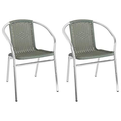 Mojawo Qualität 2 Stück Aluminium/Polyrattan Bistrostuhl stapelbar Stapelstuhl Campingstuhl Gartenstuhl Balkonmöbel Gartensitzmöbel Silber/Grau