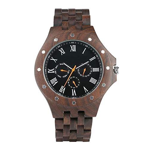 Madera de los Hombres del Relojdel Reloj Masculino con el Reloj de los Militares de la Banda de Maderapara el Hombre onlywatch