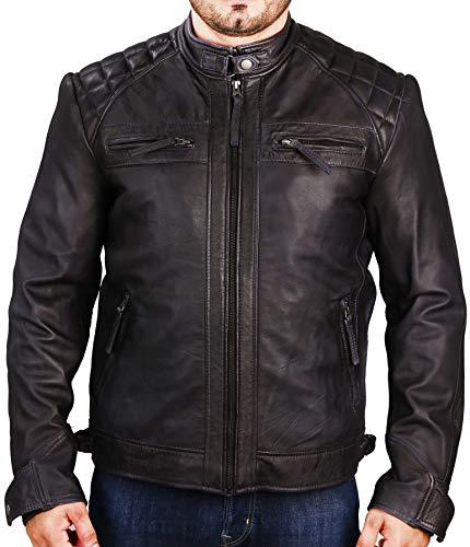 Superior Leather - Herren Biker Lederjacke Diamond Quilted Cafe Racer Vintage Distressed Motorradjacke Gr. XXL - Brust (114 cm), Schwarz