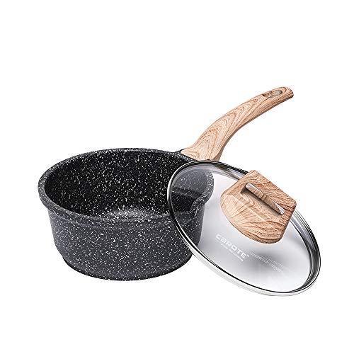 CAROTE 片手鍋16cm IH対応ミルクパン 5層マーブルコーティング 蓋付き 焦げ付きにくく洗いやすい一人鍋 揚げ物1年保証 オール熱源 EW(16cm)
